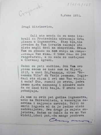 Brief Note Crnjanski